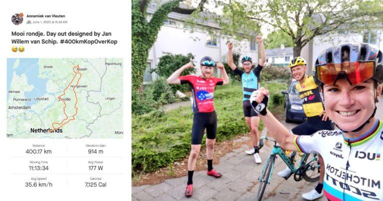 Annemiek van Vleuten laat zich uitdagen door de mannen: 400km à 35 per uur