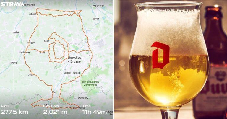 Gezien op Strava: bierliefhebber fietst glas Duvel bij elkaar